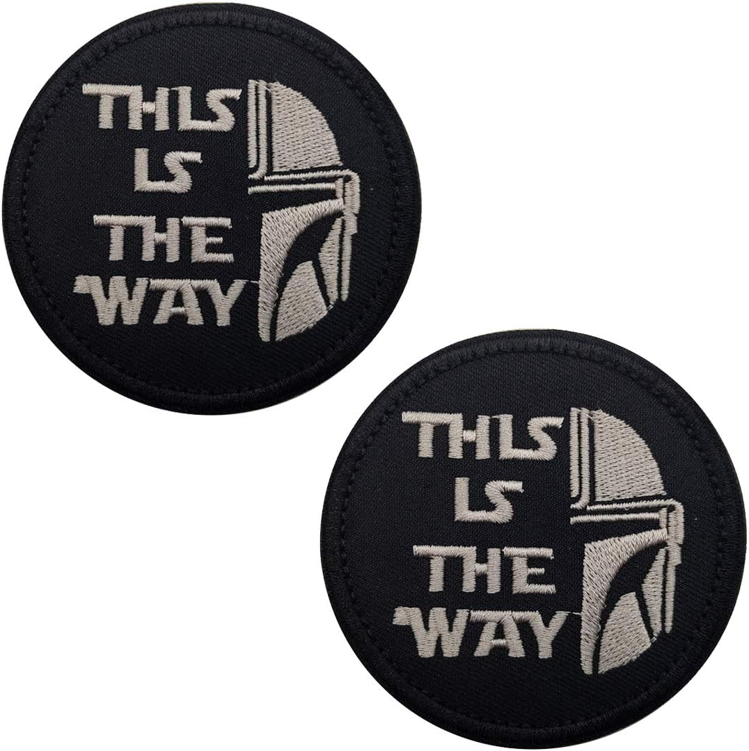 This is The Way Mandalorian Half Helmet Inspired Art Embroidered Fastener Hook and Loop Backing Tactical Morale Patch 3.15 Inch 2PCS