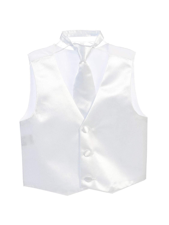Tip Top Kids Big Boys White Three Button Satin Vest Tie 2 Pc Set 8-16
