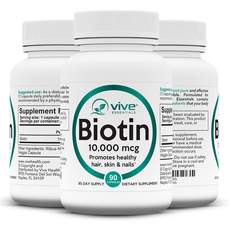 Vive Essentials Biotin Hair Pills (3 Month Supply) - B7 Growth Vitamin - 10000mcg Natural Pure High Potency Supplement for Men & Women Nails, Skin, Facial Nutrition - Max Absorption Veggie Capsule