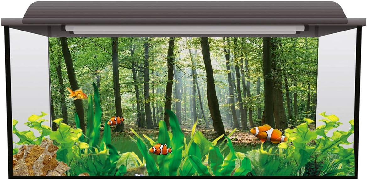 Watercolor Themed Pet Supplies T/&H Home Aquarium Decoration Cactus Crack Pattern Stylish Fish Tank Background