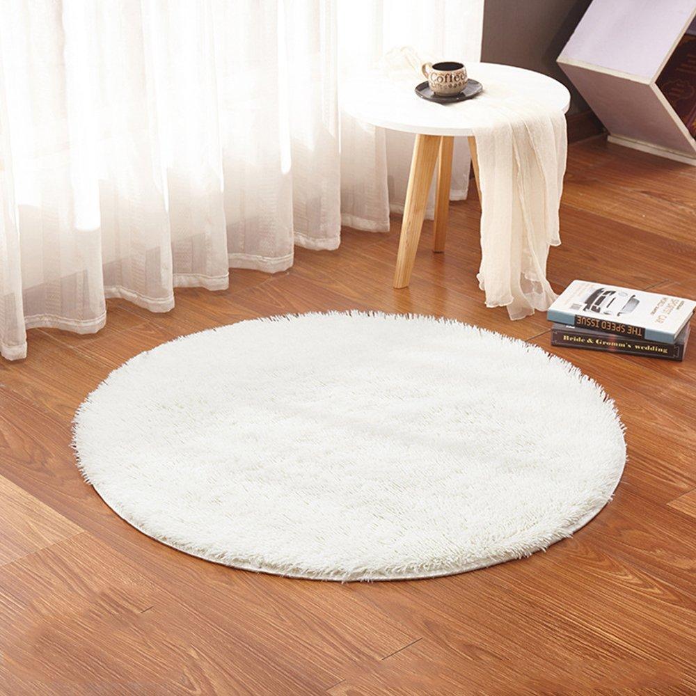 ADSRO Plush Round Mat Baby Play Mat Crawling Mat Living Room Bedroom Carpet Basket Pad Computer Chair Cushion Yoga Mat size 3''3'' Diameter (Creamy White)