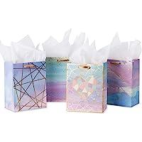 Loveinside Middelgrote cadeauzakjes, kleurrijk marmerpatroon, geschenktasje met zijdepapier voor winkelen, feesten…