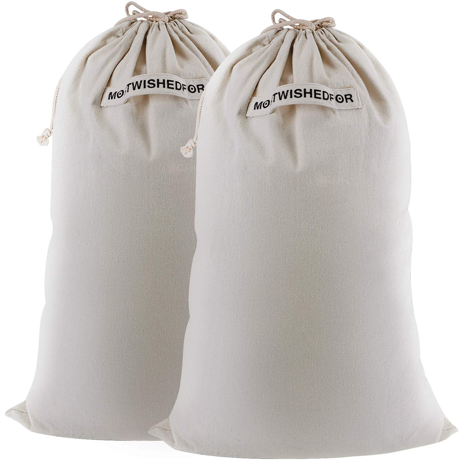 "2pcs 24""x36"" Large Dirty Laundry Bag Storage with Handle for Travel Wash Heavy Duty College Students Dorm Clothes Pack Household Essential Canvas Camp Cotton Sack Kids Dry Cleaning Carrier Beige"