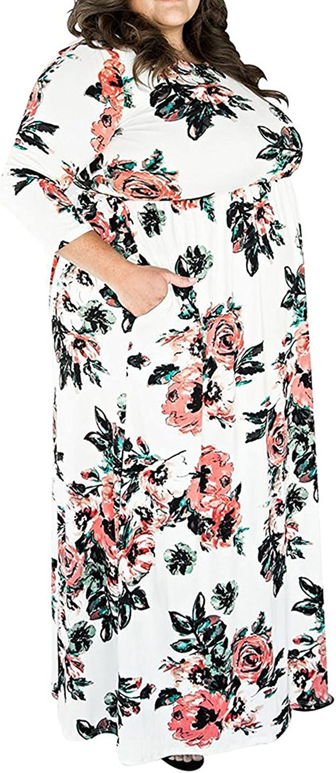 TALLA (EU50-52)2XL. Lover-Beauty Vestido Largo Mujer Talla Grande Moda Bolsillo Top Falda para Fiesta Verano Manga Corta Floral Estampada Suleto Moda de Ropa Elegante Maxi Blanco (EU50-52)2XL