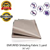 RFID EMF Shielding Nickel Copper Fabric,Copper Fabric Blocking RFID/RF Emf Protection - BIG Size - 36.2 X 44 inches 1 yard- Radiation Protection - Block Wifi - EMF Shield - RFID - Anti Radiation - Conductive shielding Copper Nickle Fabric , WiFi Block, Bluetooth Block.Military Grade Shielding Fabric(44'' x 36'')