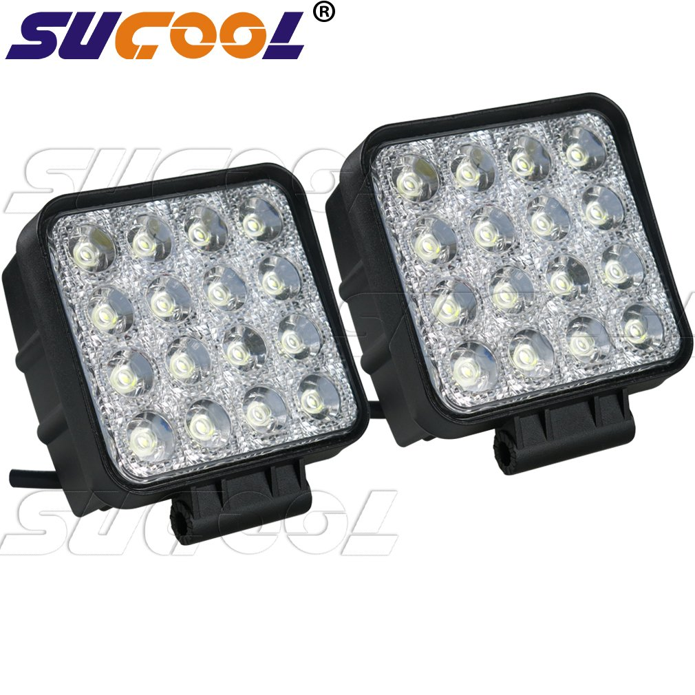 Sucool 2pcs One Pack 4 Inch Square 48w Led Work Light Off Road Flood Lights Truck Lights 4x4 Off Road Tractor Jeep Work Lights Fog Lamp for Jeep Cabin/boat/suv/truck/car/atv/vehicles/automative/jeep/marine