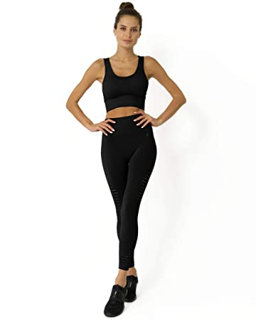 Savoy Active Seamless High Waist Compression Leggings with Ribbing & Cutouts for Women