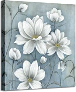 Magnolia Flowers Canvas Picture Painting: White Floral Artwork Print on Blue Canvas Wall Art for Living Room (20'' x 20'' x 1 Panel)