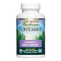 Host Defense, Lion's Mane Capsules, Promotes Mental Clarity, Focus and Memory, Daily Mushroom Supplement, Vegan, Organic, 120 Capsules (60 Servings)