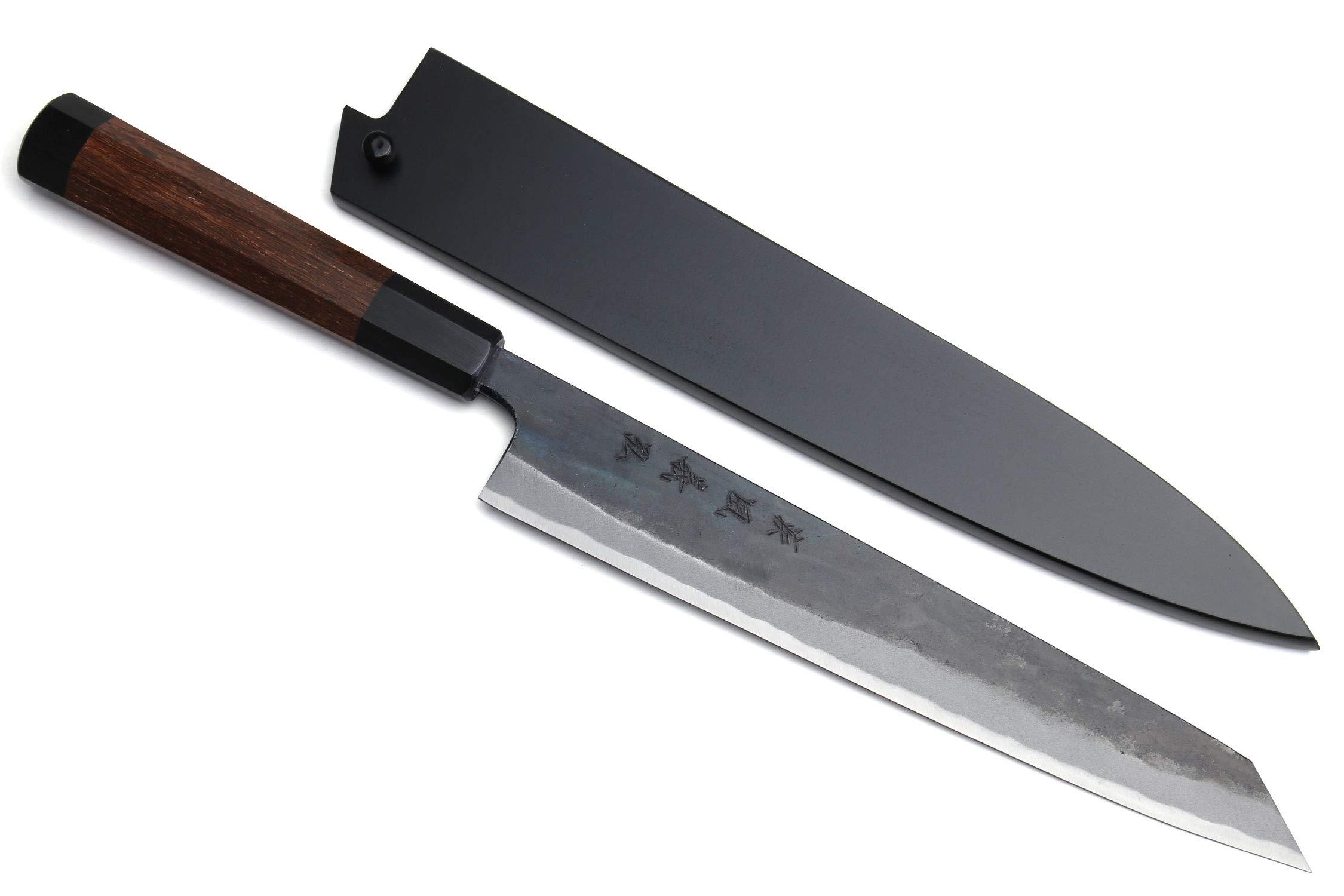 Yoshihiro Mizu Yaki Black Finish Blue Steel #1 Kurouchi Sujihiki Kiritsuke Slicer Chef Knife Rosewood Handle (10.5'' (270mm) & Saya)