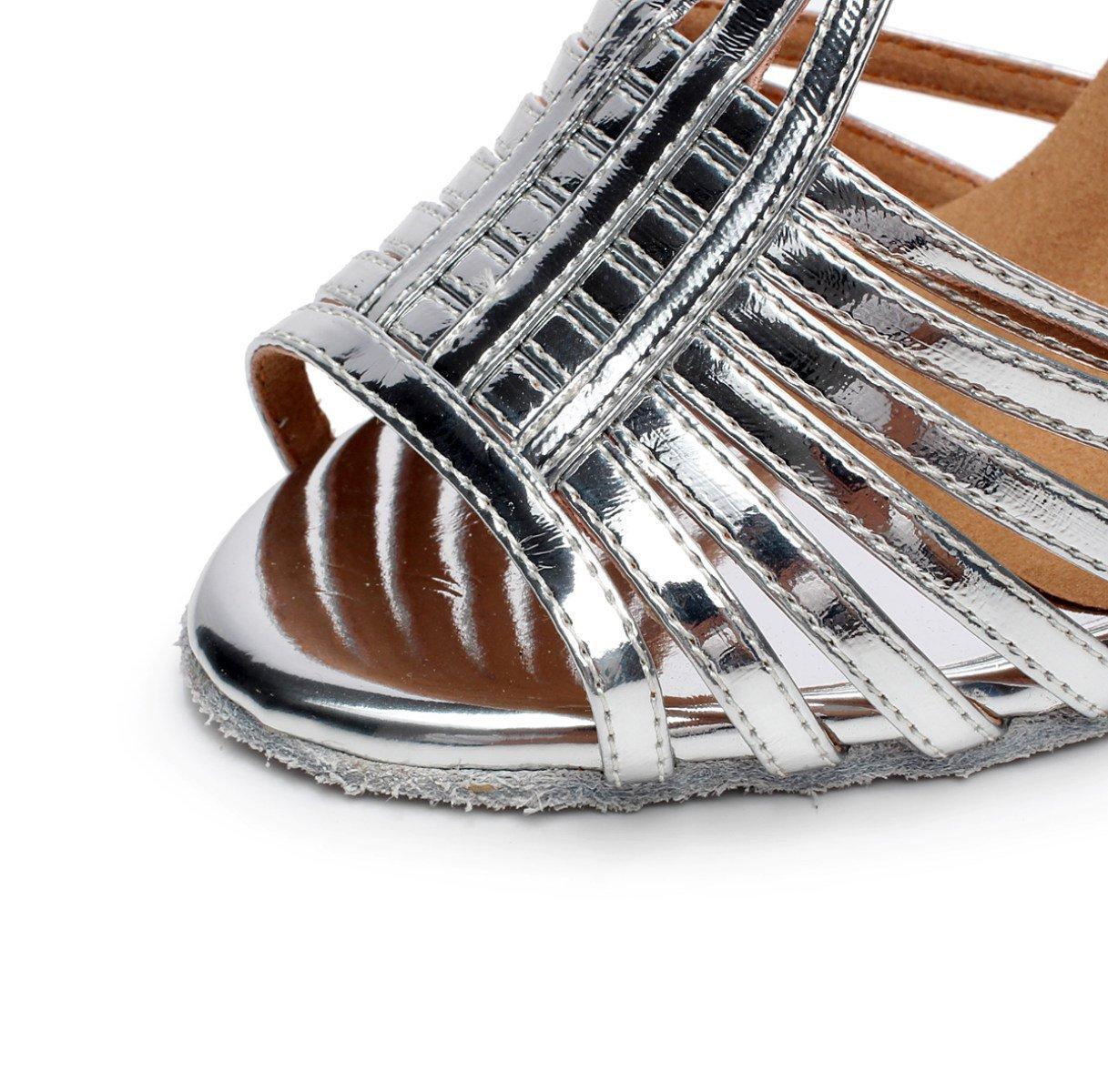 JSHOE Lateinamerikanische Damenschuhe Salsa / Samba Tango / Chacha / Samba / / Modern / Jazz Schuhe Sandalen High Heels,Silver-heeled8.5cm-UK4/EU35/Our36 - 0f5c92