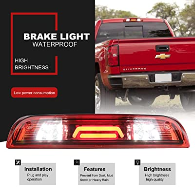 Replacement for 14-18 GMC Sierra/Chevy Silverado 1500, 15-18 GMC Sierra/Chevy Silverado 2500HD 3500HD Rear Roof Center LED Third Brake Cargo Light Assembly High Mount Brake Tail Light(Chrome+Red): Automotive