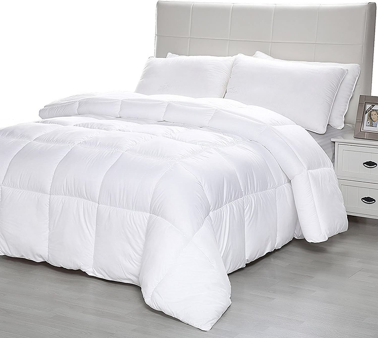 D & G THE DUCK AND GOOSE CO Down Alternative Comforter with Corner Tabs, Plush Microfiber Quilted Duvet Insert Lightweight for All Season, Premium Hotel Quality - Machine Washable - Queen