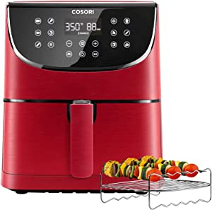 COSORI Air Fryer(100 Recipes, Rack & 4 Skewers),3.7QT Electric Hot Air Fryers Oven Oilless Cooker, 11 Presets, Preheat & Shake Reminder, LED Touch Digital Screen, Nonstick Basket, 1500W, Red