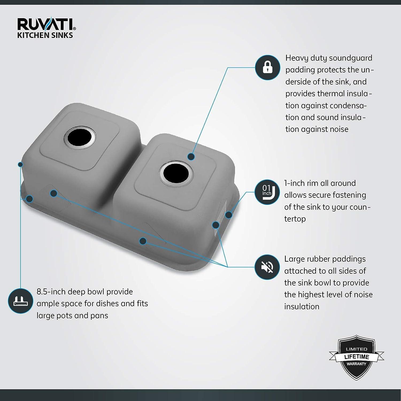 Ruvati 32-inch Low-Divide 50//50 Double Bowl Undermount 16 Gauge Stainless Steel Kitchen Sink RVM4350 Renewed