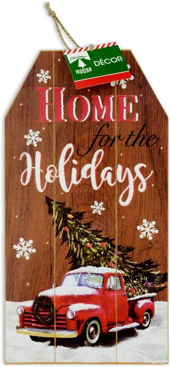 Christmas Decor Glitter Sign Rustic Plank Gift Tag Sign with Pickup Truck and Tree for Walls or Door Decorations for Home School