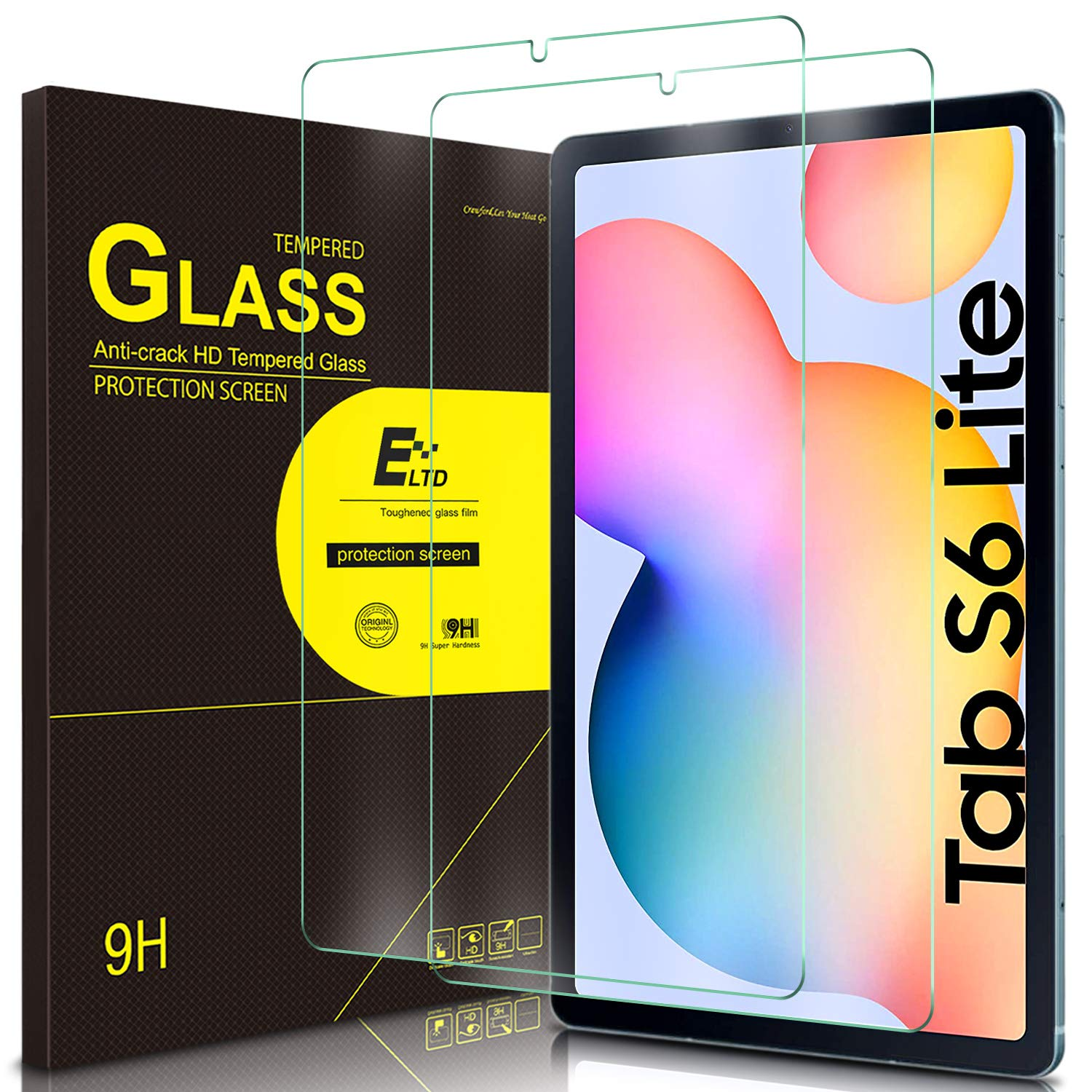 ELTD (2Pack) Screen Protector for Samsung Galaxy Tab S6 lite 10.4 inch HD Tempered Glass/Easy Installation Screen Protector for The New Samsung Galaxy Tab S6 lite 10.4 inch 2020 Release Tablet
