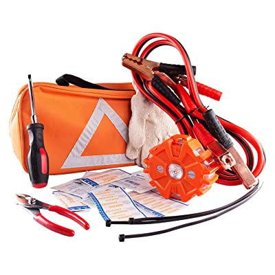 NoOne Car Safety Kit, Multi Functional Roadside Assistance Emergency Kits- First Aid Kit, Jumper Cables, LED Warning Light, Orange Strong Bag, Work Gloves, Tools: Automotive