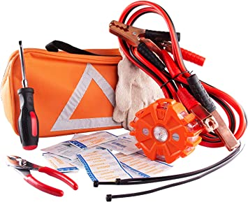 Air Compressor Break Down Kit RING Car to Car Jump Starter Work Gloves Tow Rope Strap