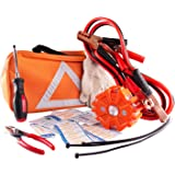 Car Safety Kit, NoOne Multi functional Roadside Assistance Emergency Kits- First Aid Kit, Jumper Cables, LED Warning Light, O
