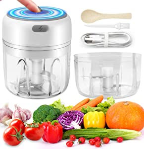 Electric Mini Food Chopper - Handheld Wireless Mincer Garlic Chopper and Processor,Portable USB Waterproof Blender Food Slicer for Fruits Vegetable Onion Nuts Meat Chili (250ML+100ML)