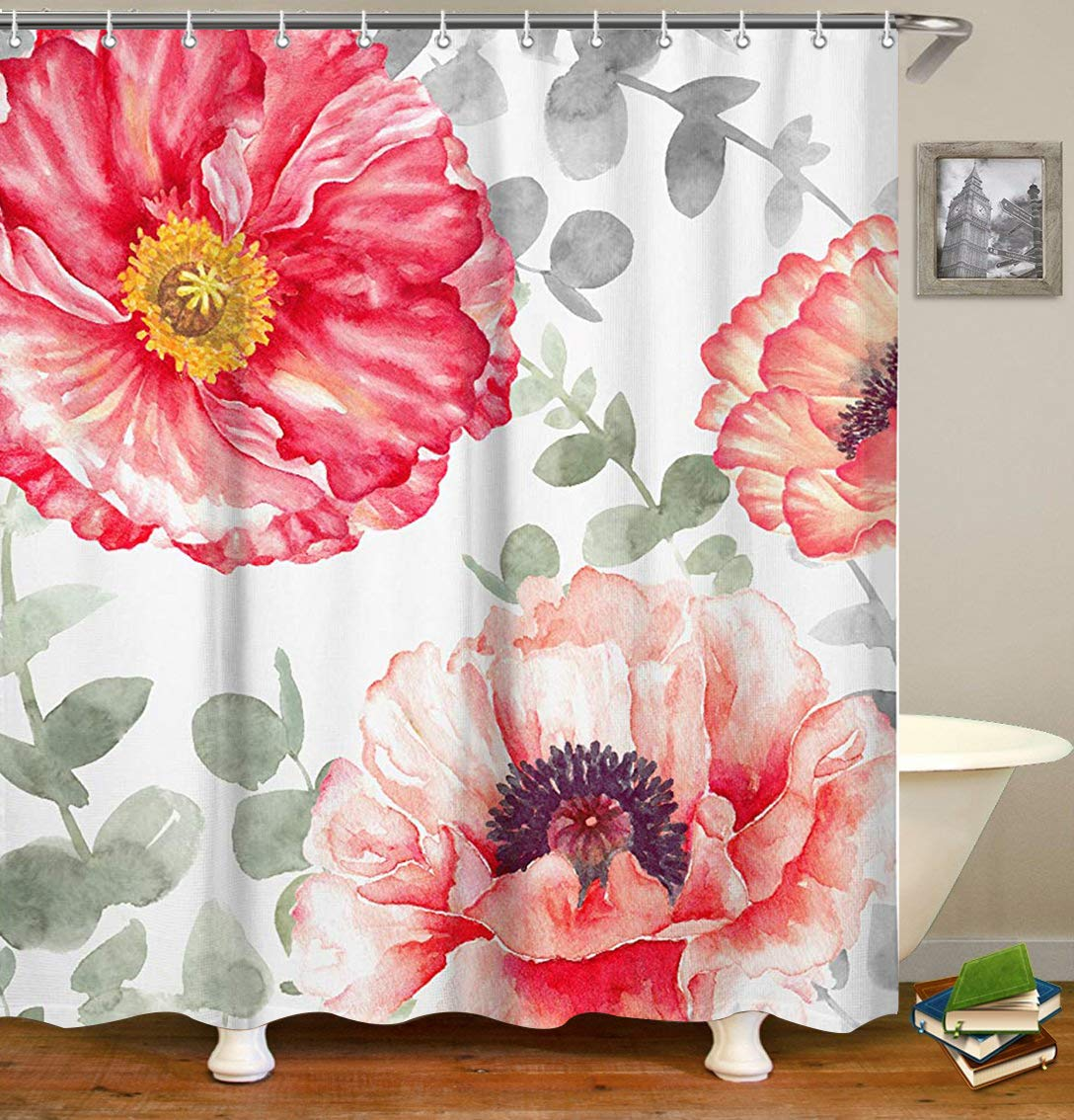 Livilan Peony Floral Fabric Shower Curtain Set 72'' x 72'' Decorative Waterproof Quick Dry Thick Polyester Fabric Bathroom Curtain, Gray Red by Livilan
