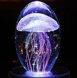 LED Nachttischlampe Kristall Tischleuchte Kreativ Geschenk mit Musik Kleine Qualle Nachtlicht 4 Lichtfarben Schreibtischlampen Stimmungslicht Atmosphäre Tischlampe (Blau)