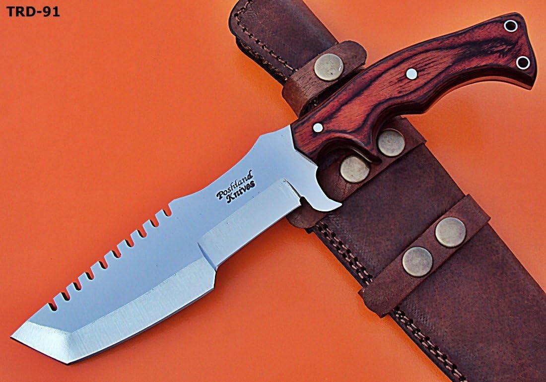 Poshland TRD-91 Custom Handmade D2 Tool Steel Tracker Knife- Red Dollar Sheet Handle
