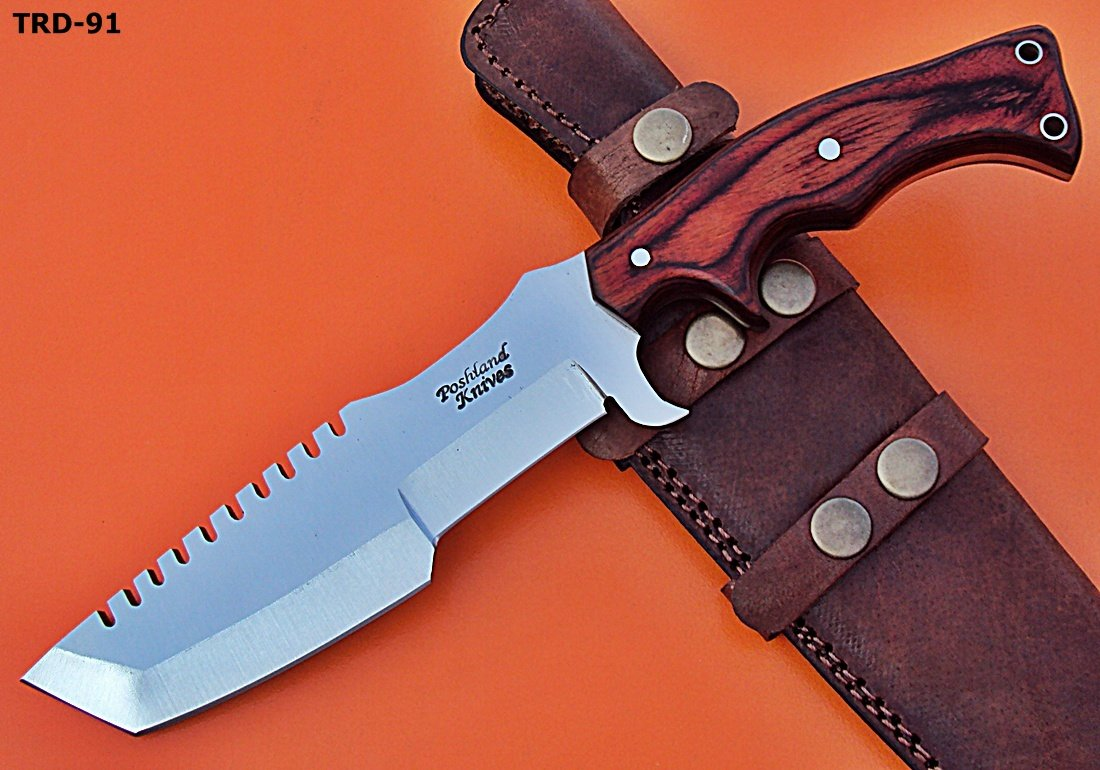 Poshland TRD-91 Custom Handmade D2 Tool Steel Tracker Knife- Red Dollar Sheet Handle