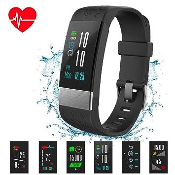 Reloj inteligente con monitor de ritmo cardíaco y pantalla de color de Macrourt para seguimiento de
