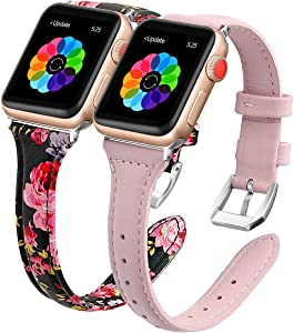 iGK Genuine Leather Band Compatible for Apple Watch Band 38mm 40mm 42mm 44mm, Top Grain Leather Strap Slim Thin Elegant Sport Strap Compatible with iWatch Series 5 4 3 2 1