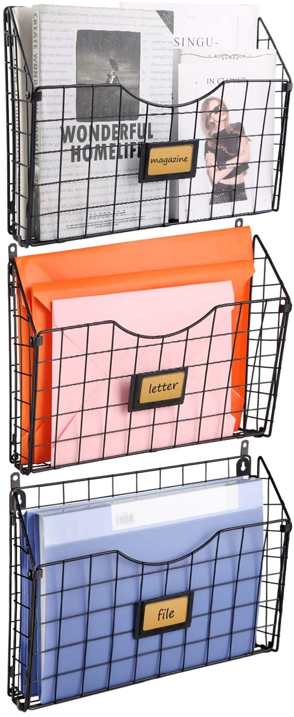 X-cosrack Stackable Hanging Wall Files Rack&3-Tier Metal Folder Wall File Holder with Tag Slot Mounts on Wall and Door for Office, Home, and Work Easy Organizing,Black(Patent Pending)
