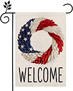 CROWNED BEAUTY Patriotic Welcome American Strip and Star Wreath Garden Flag 12×18 Inch Double Sided Vertical 4th of July Independence Day Memorial Day Yard Outdoor Decor CF107-12