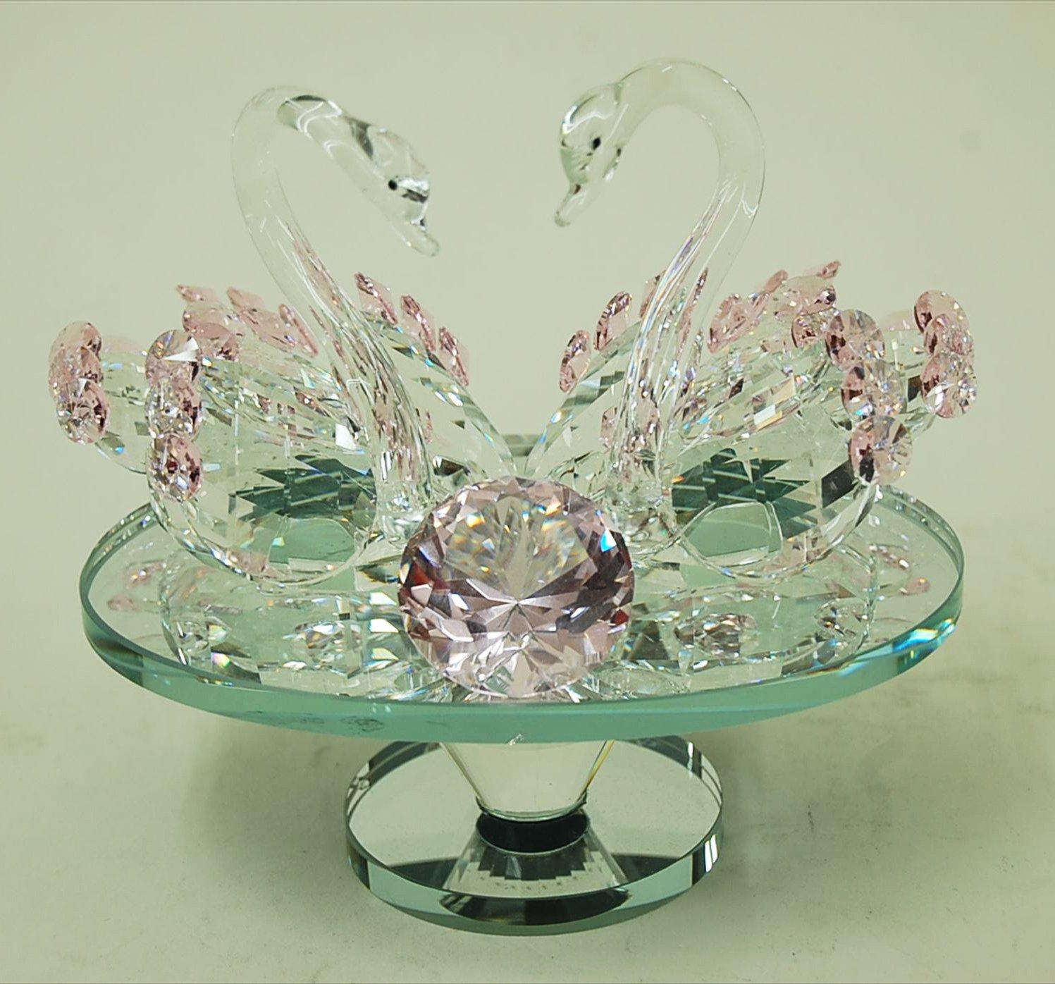 白鳥 スワン ガラス細工 クリスタル インテリア かわいい オブジェ 置物 おしゃれ B07D1YN6RF