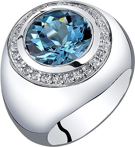 Topaz Sterling Silver Ring Size 8 Blue Topaz Ring