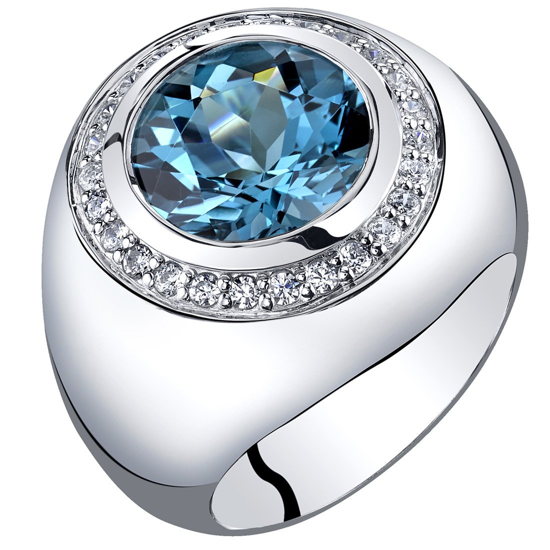 Mens 5.50 Carats London Blue Topaz Signet Ring Sterling Silver Sizes 8 to 13