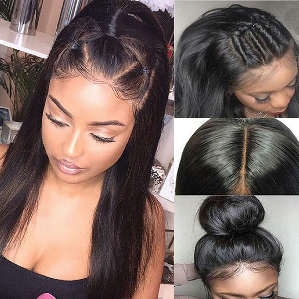 5289aafdc Pre Plucked 360 Lace Frontal Wig with Baby Hair Glueless 360 Full Lace Wig  Straight 360 Lace Front Wig Human Hair for Black Women Natural Hairline  130% ...