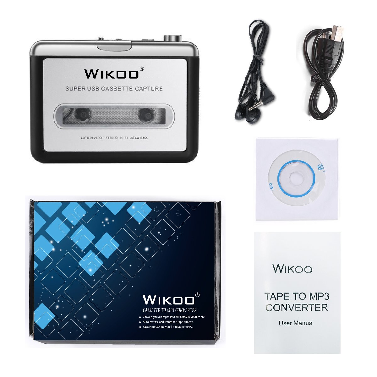 Cassette Tape to MP3 Converter, Wikoo USB Cassette Converter Portable  Cassette Player, Compatible with Laptops and PC, Convert Tape Cassettes to  MP3
