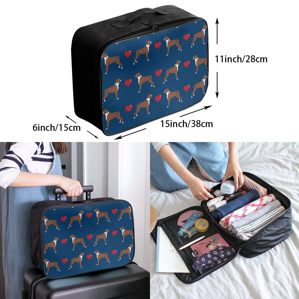ADGAI Boxer Love Navy Blue Background Canvas Travel Weekender Bag,Fashion Custom Lightweight Large Capacity Portable Luggage Bag,Suitcase Trolley Bag