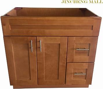 36 W X 21 D New Maple Shaker Single Sink Bathroom Vanity Base Cabinet Suit Any Bathroom Style Amazon Com