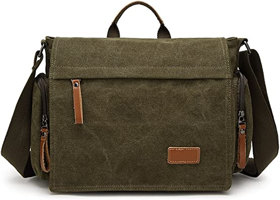 Canvas Office Shoulder Bags Men Multifunction School Travel Messenger Bag Vintage Satchels Crossbody Green