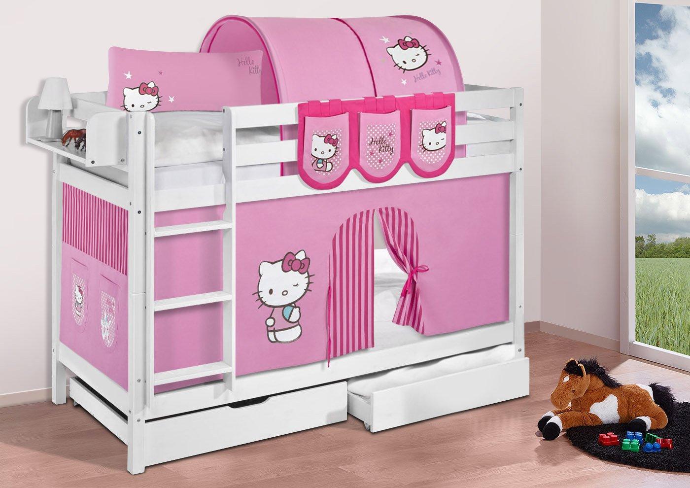 Etagenbett Jelle : Lilokids buche massivholz etagenbett jelle hello kitty rosa