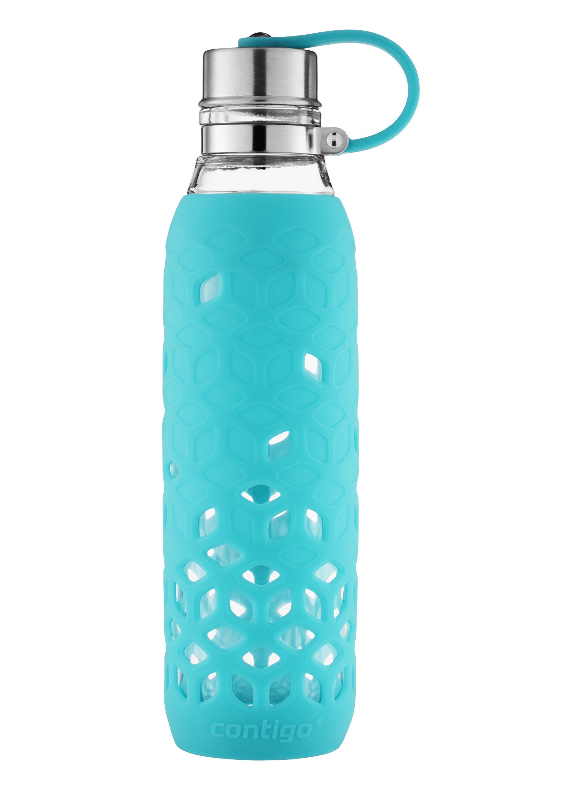 Contigo Purity Glass Water Bottle with Petal Sleeve, 20oz, Scuba