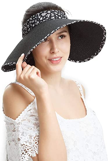 a200787e0 Straw Sun Visor Hats Women Large Brim Summer Hat UV Protection Beach Cap  Foldable