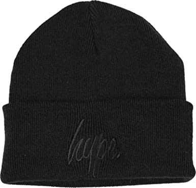 7954ad6e29ab9 Hype Script Logo Beanie Hat Black on Black  Amazon.co.uk  Clothing