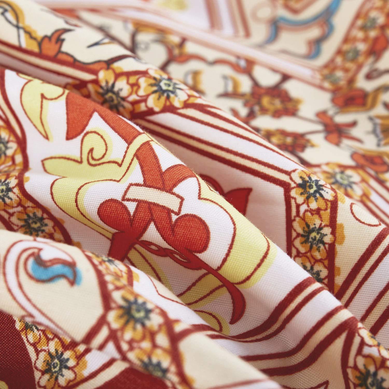 3pcs, Queen Size Wake In Cloud Soft Microfiber Bedding Orange Bohemian Boho Chic Medallion Pattern Printed Mandala Comforter Set