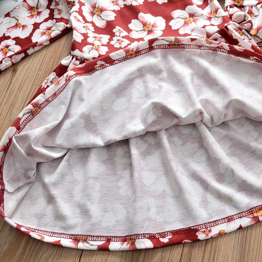 SiQing Toddler Kid Baby Girls Fly Long Sleeve Princess Floral Cherry Blossoms Dress Hair Band Summer Sundress