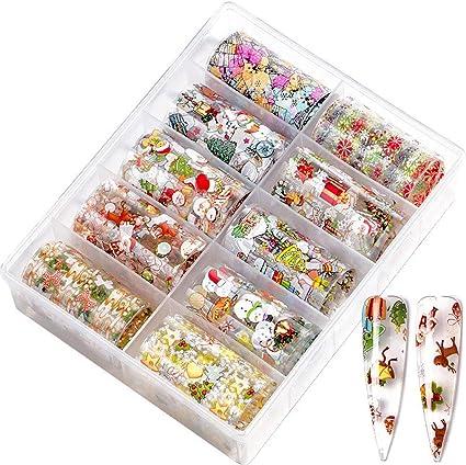 UC-Express - Lote de 10 láminas de vinilo para manicura (100 x 3,8 cm), diseño de Navidad: Amazon.es: Belleza