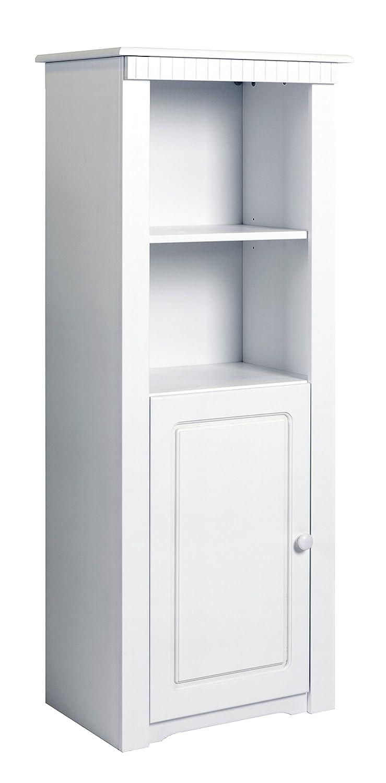 Clever-moebel Regal mit Tür aus Kiefernholz, Weiß; Vitrine, Schrank