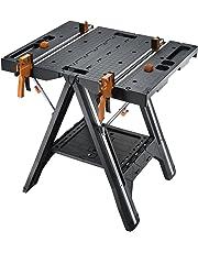 Worx WX051Pegasus Multifunktions-Arbeitstisch und Sägebock mit Schnellklemmen und Haltern, Schwarz